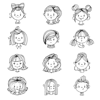 Set of girls with hairstyles.