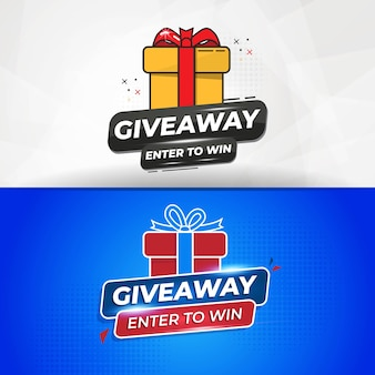 Set of giveaway banner template