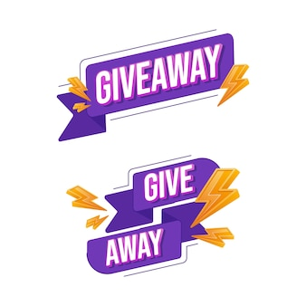 Set of giveaway promo text vector
