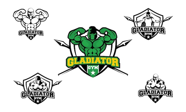 Set of gladiator gym fitness logo design template