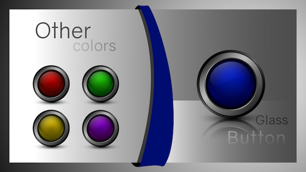 Set of glass buttons of different colors for web design. ready buttons for the design of the interface software, app and games.