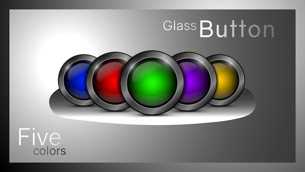 Set of glass buttons red, blue, yellow, green and purple color.