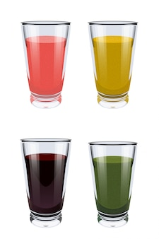 Set of glass cups with smoothies on white