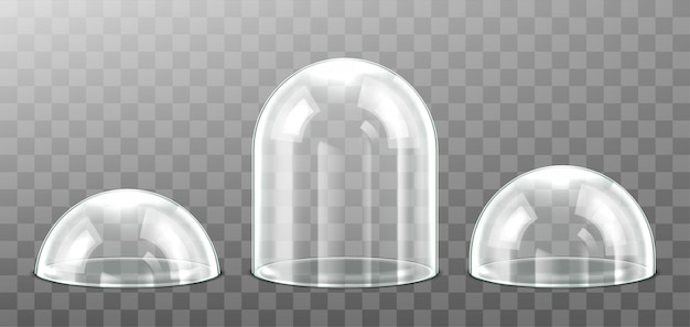 Set of glass dome isolated on transparent background. realistic detailed spherical glass dome cover.  illustration