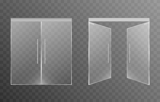 Set of glass doors on an isolated transparent background main entrance doors to shop