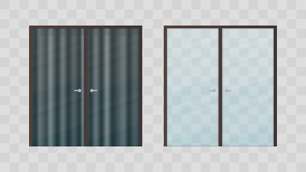 Set of glass doors. transparent glass doors with a dark curtain.