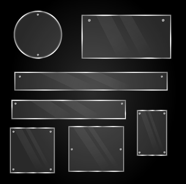 Set of glass frames  isolated on transparent background.