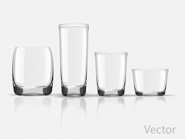 Set glass glasses vector