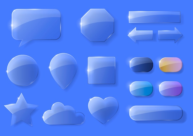 Set of glass icons