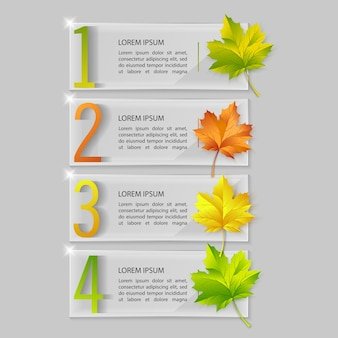 Set of glass infographics with autumn maple leaves