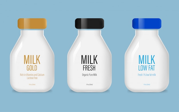 Set of glass milk bottle