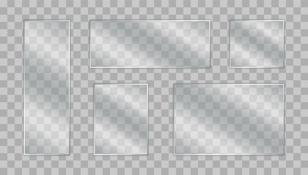 Set of glass plate. realistic glass banners on transparent background. transparent glass window.