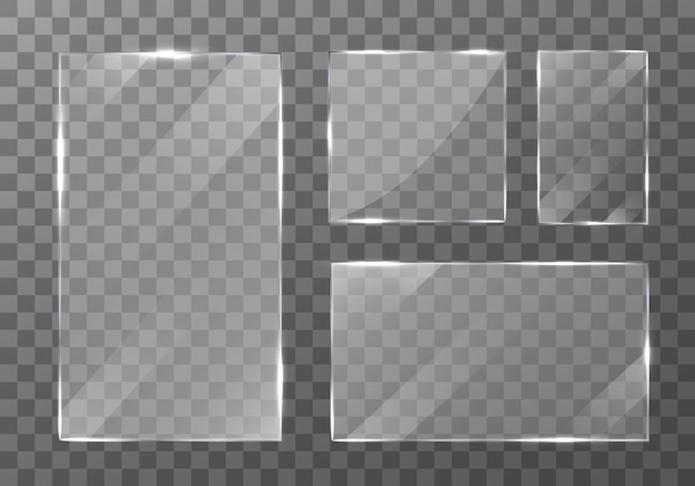 Set of glass plate on transparent background