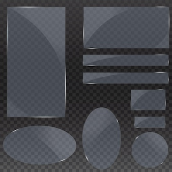 Set of glass plates, glass banners on a transparent background.transparency.for publicity.