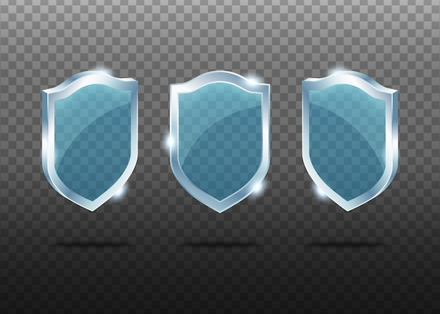 Set of glass realistic shields.