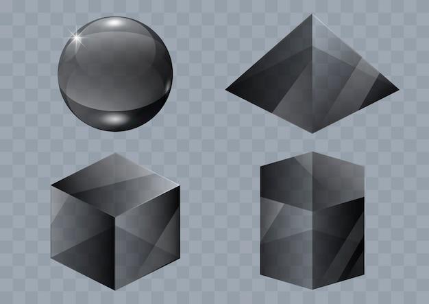 Set of glass shapes