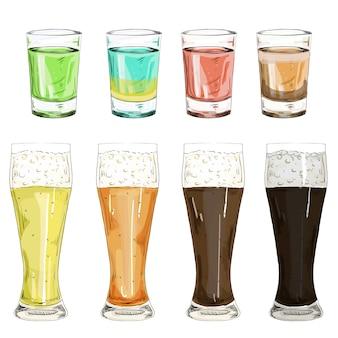 色アルコールリキュールと飲み物のイラストで撮影したガラスを設定します。分離した白い背景の上のビールのさまざまなグレードとビールのグラスのセット