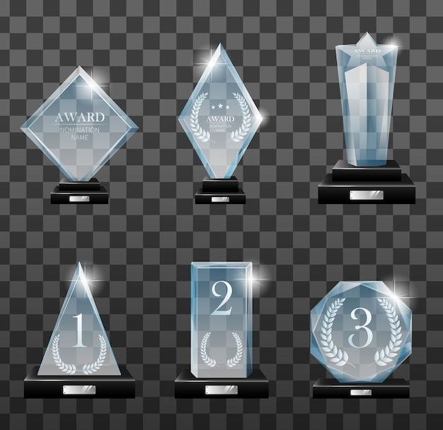 Set of glass trophy award in different forms