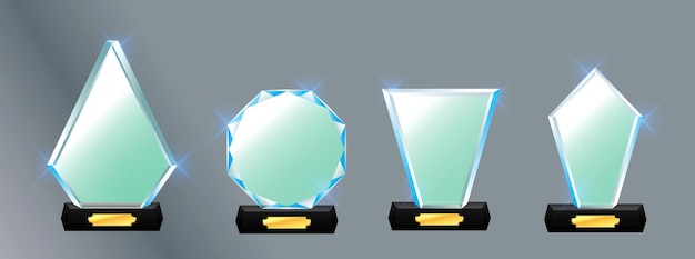 Set of glass trophy award vector award on gradient gray background easy to modify
