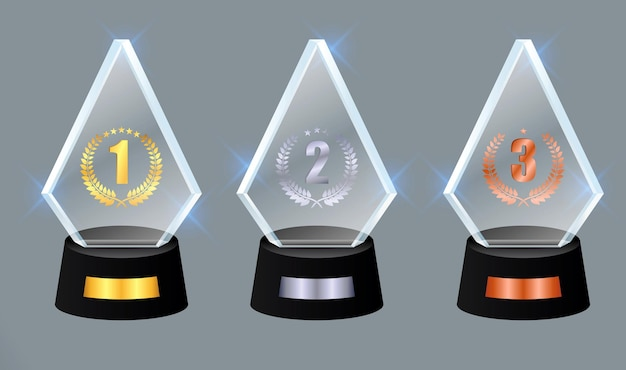 Set of glass trophy award vector award on gradient gray background eps vector