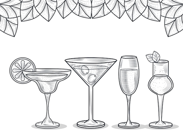 Set of glass with cocktails and alcohol drink, thin line style icon
