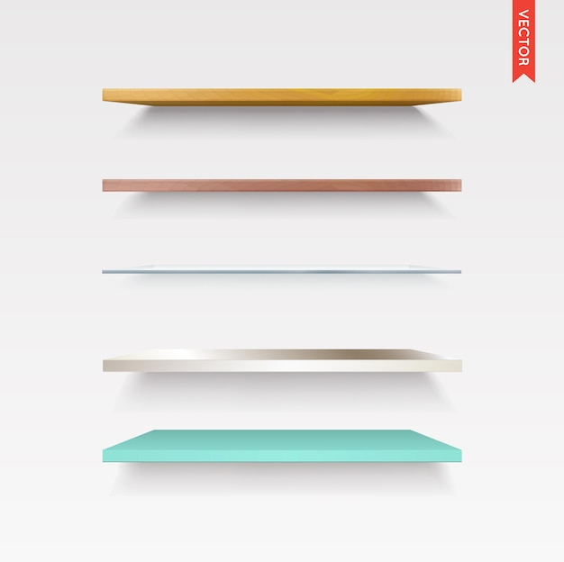 Set of glass, wood, plastic, metal shelves in vector isolated on the wall background