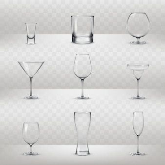 Set of glasses for alcohol and other drinks