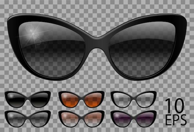 セットメガネ。バタフライキャットアイシェイプ。透明な異なる色ブラックブラウンパープル。サングラス。3dグラフィックス。ユニセックス女性男性