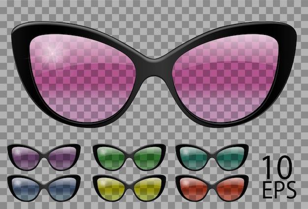 Набор очков. бабочка форма кошачьего глаза. прозрачные разного цвета. солнцезащитные очки. 3d графика. розовый синий фиолетовый желтый красный зеленый. унисекс женщины мужчины