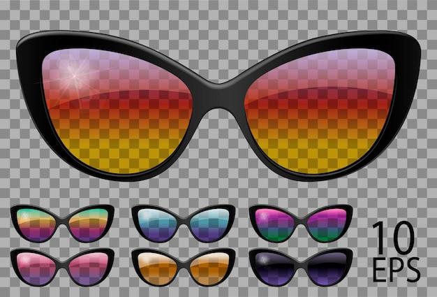 Набор очков. бабочка в форме кошачьего глаза. прозрачные разного цвета. солнцезащитные очки. 3d графика. радуга хамелеон розовый синий фиолетовый желтый красный зеленый оранжевый черный. унисекс женщины мужчины