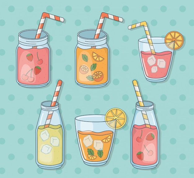 Set of glasses containers with fruits juices and straws
