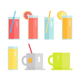 Set of glasses and cups with beverages vector.