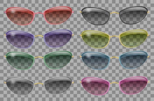 Набор очков разного цвета. узкая форма. прозрачный. фиолетовый красный синий розовый золотой зеленый. солнцезащитные очки серый черный желтый. 3d графика. унисекс женщины мужчины