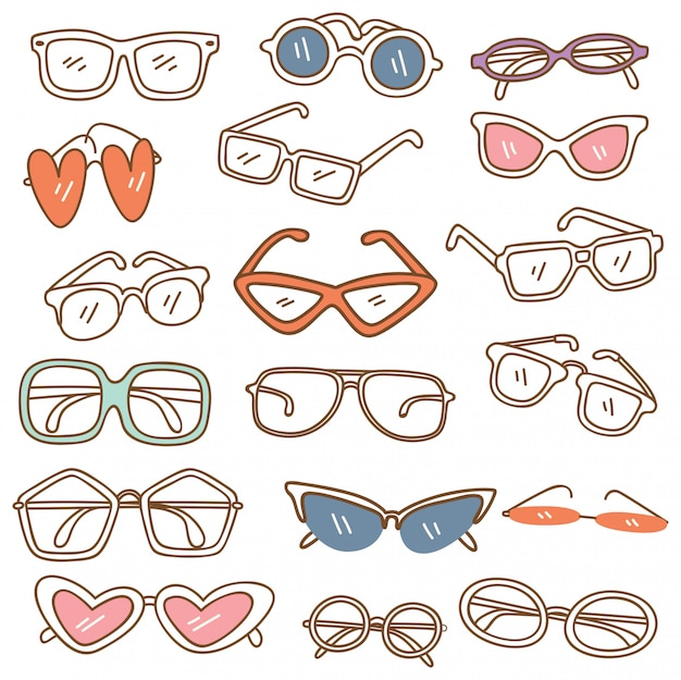 Set of glasses doodle isolated