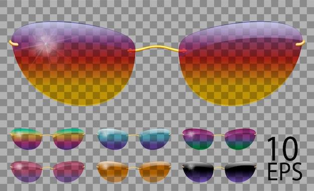 Установить очки. футуристический; узкая форма. прозрачный разный цвет. солнцезащитные очки. 3d графика. радуга хамелеон розовый синий фиолетовый желтый красный зеленый оранжевый черный. унисекс женщины мужчины