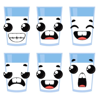 Set of glasses of milk and emotions. vector illustration in cartoon style