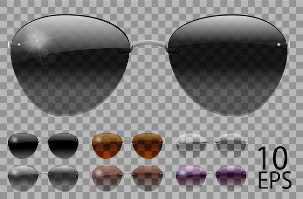 セットメガネ。ポリスドロップアビエイターシェイプ。透明な異なる色ブラックブラウンパープル。サングラス。3dグラフィックス。ユニセックス女性男性
