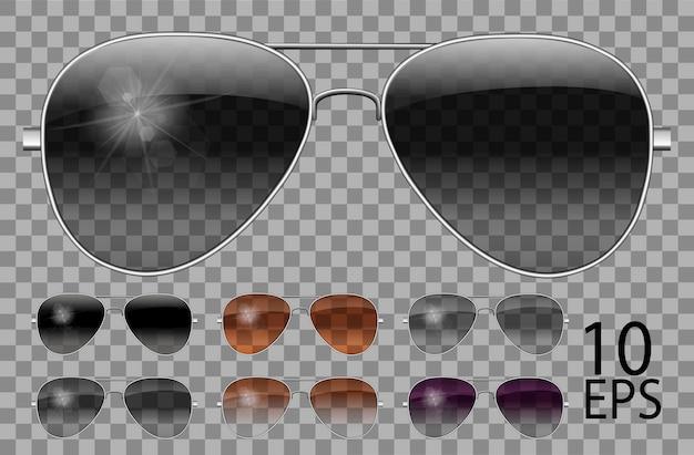 Набор очков. полицейские капли авиатор формы. прозрачные разного цвета черный коричневый фиолетовый. солнцезащитные очки. 3d графика. унисекс женщины мужчины