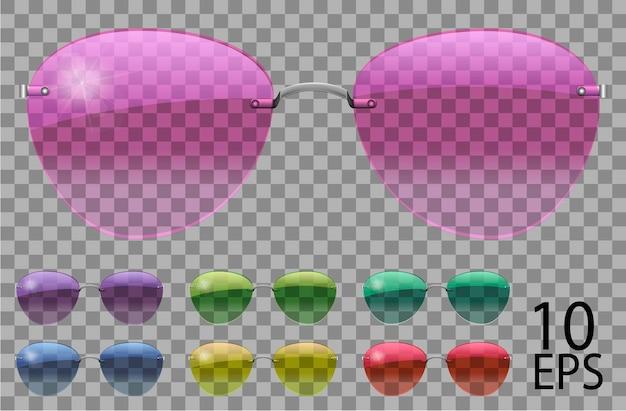 Набор очков. полицейские капли в форме авиатора. прозрачные разного цвета. солнцезащитные очки. 3d графика. розовый синий фиолетовый желтый красный зеленый. унисекс женщины мужчины