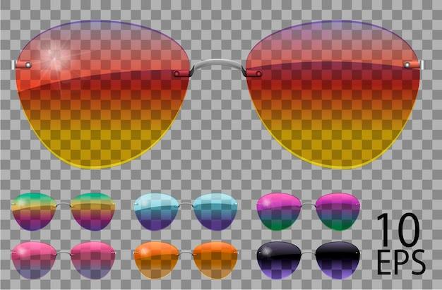 Набор очков. полицейские капли формы авиатора. прозрачные разного цвета. солнцезащитные очки. 3d графика. радуга хамелеон розовый синий фиолетовый желтый красный зеленый оранжевый черный. унисекс женщины мужчины