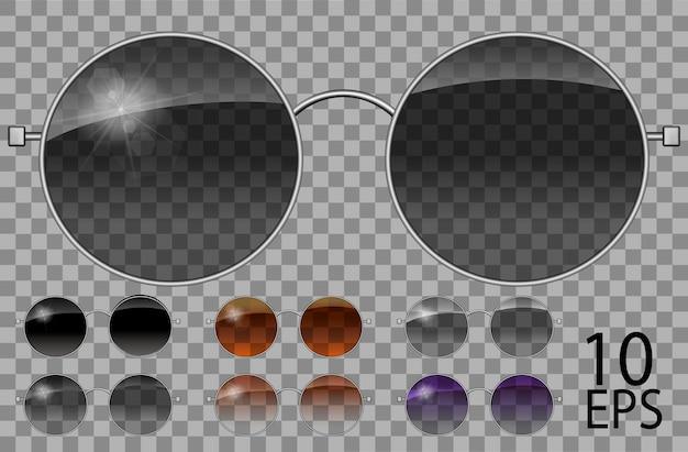 Набор очков. красит круглую форму. прозрачные разного цвета черный коричневый фиолетовый. солнцезащитные очки. 3d графика. унисекс женщины мужчины.