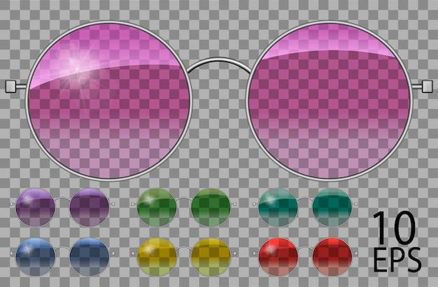 Набор очков. красит круглую форму. прозрачные разного цвета. розовый синий фиолетовый желтый красный зеленый. солнцезащитные очки. 3d графика. унисекс женщины мужчины.
