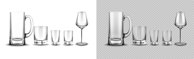 Set of glasses for tequila, whisky, beer tankard and wine