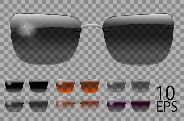 Набор очков. трапециевидной формы. прозрачные разного цвета черный коричневый фиолетовый. солнцезащитные очки. 3d графика. унисекс женщины мужчины