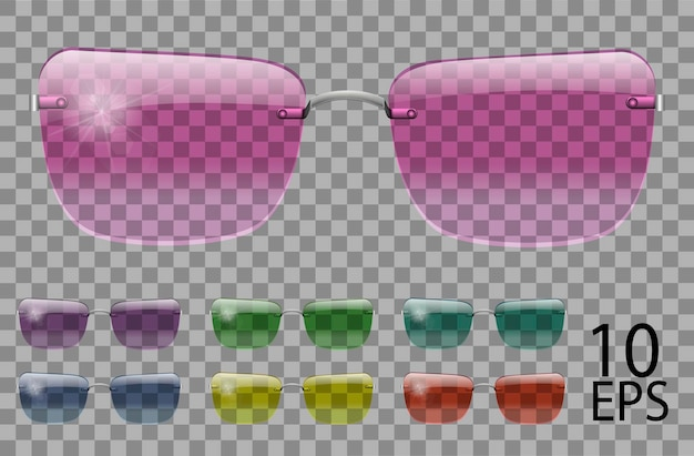 Набор очков. трапециевидной формы. прозрачные разного цвета. солнцезащитные очки. 3d графика. розовый синий фиолетовый желтый красный зеленый. унисекс женщины мужчины