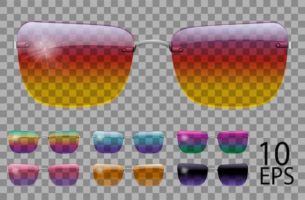 Набор очков. трапециевидной формы. прозрачные разного цвета. солнцезащитные очки. 3d графика. радуга хамелеон розовый синий фиолетовый желтый красный зеленый оранжевый черный. унисекс женщины мужчины