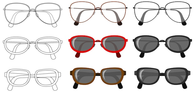 Set of glasses on white background