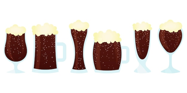 A set of glasses with dark beer