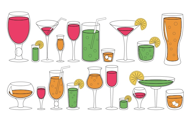 Set of glasses with liquid. drinks cocktails  illustration.
