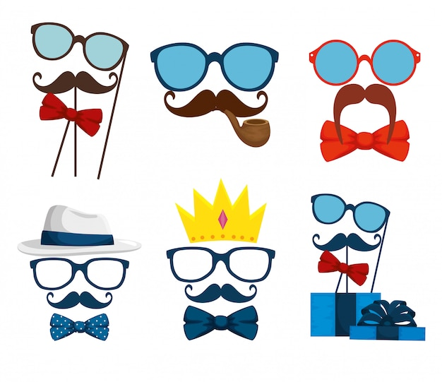 Set glasses with mustache and tie bow accessories